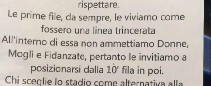 """Lazio, volantino contro le donne apparso in Curva Nord: """"Non siete ammesse nelle prime dieci file"""""""