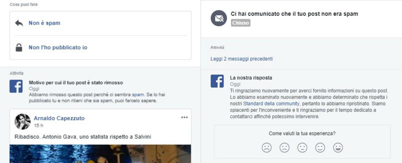 Salvini, anche il mio post su lui e la Diciotti è stato rimosso da Facebook