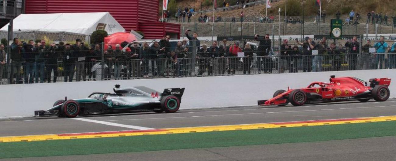Formula 1, qualifiche Gp del Belgio: Hamilton in pole davanti a Vettel. Poi le Force India che sfruttano la pioggia