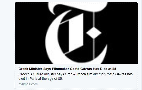 La fake news della morte del regista greco Costa Gavras