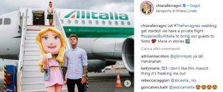 """Matrimonio Ferragni Fedez, Pd: """"Alitalia sponsor? Irriguardoso dei soldi pubblici"""". La compagnia: """"È accordo commerciale"""""""