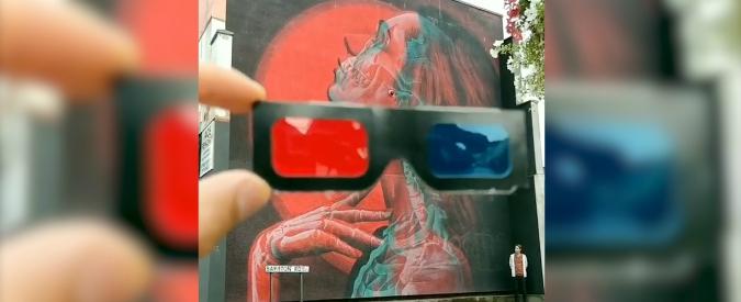 posto migliore nuova collezione bellissimo aspetto Il murales con la ragazza di profilo è tridimensionale: l'effetto ...