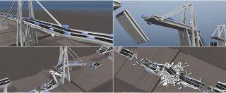 Ponte Morandi, come è collassato il viadotto? In una simulazione 3D le 5 ipotesi di cedimento della struttura