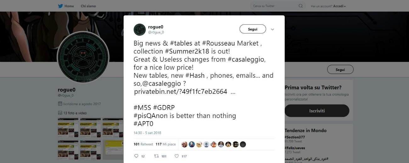 """Rousseau, hacker: """"Bucata di nuovo la sicurezza della piattaforma M5s"""". Il Garante della privacy avvia verifiche"""