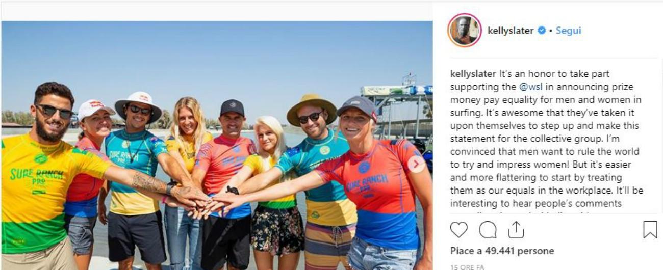 """La World Surf League annuncia la parità di retribuzione tra uomini e donne: """"Uguali per natura"""""""