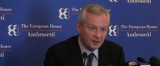 """Francia, ministro Economia: """"L'Italia è cosciente delle sue responsabilità in Europa"""""""