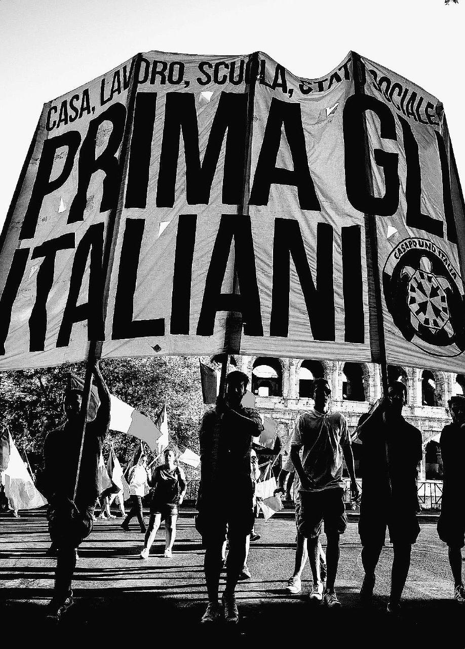 Una manifestazione contro lo Ius soli di Casapound, a Roma nel 2017 – Ansa