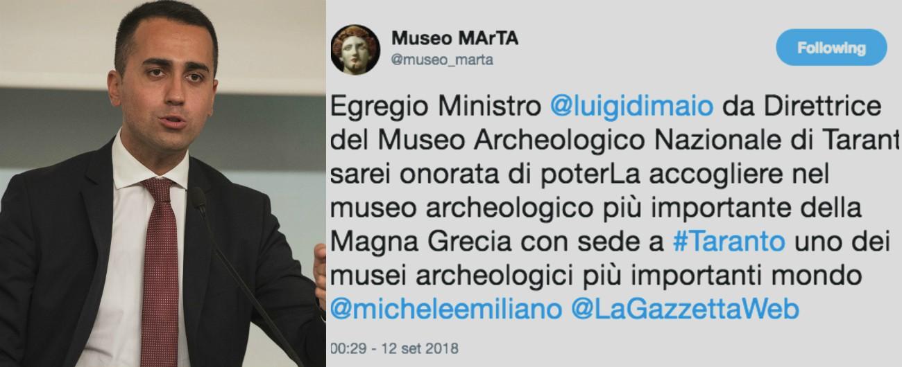 """Taranto, Di Maio: """"Lì non ci sono musei degni della Magna Grecia"""". Direttrice del MarTa: """"Noi tra più importanti al mondo"""""""