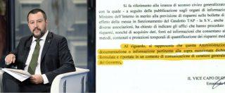 """Tap, Salvini: """"Risparmio 10% in bolletta"""". Comitati del no: """"Smentito dal Viminale. Nessun ministero conosce costi-benefici"""""""