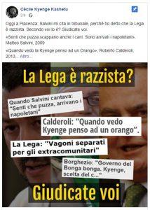 """Cècile Kyenge accusata di diffamazione per aver definito la Lega """"razzista""""  Salvini si"""