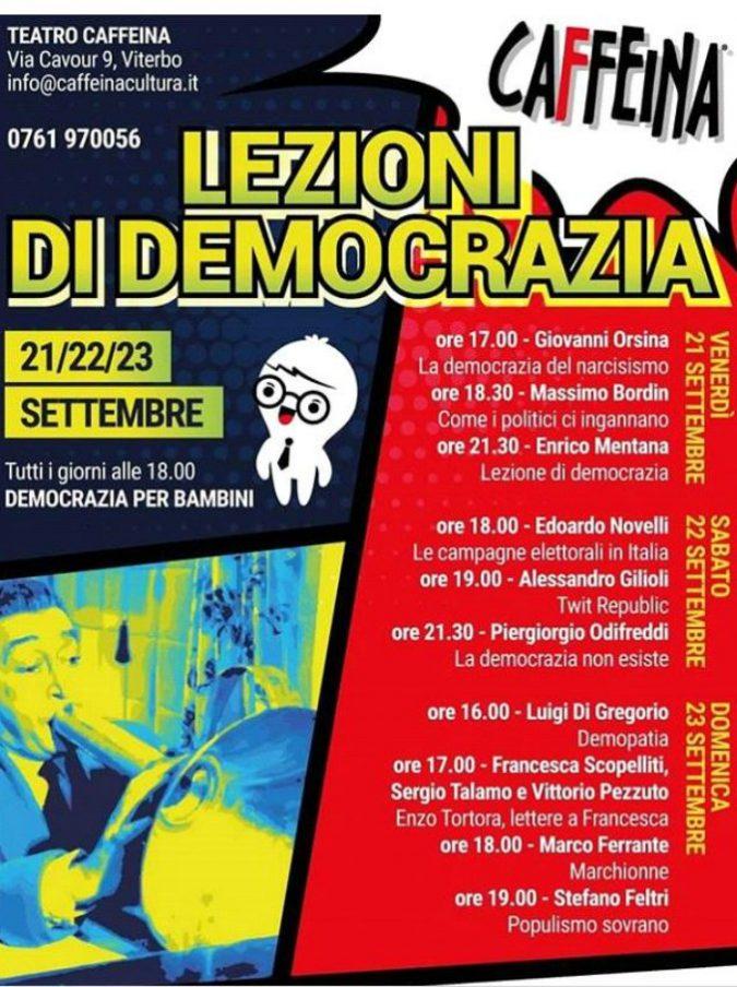 """Caffeina lancia """"Lezioni di democrazia"""" a Viterbo: tre giorni di dibattiti sul rapporto tra popolo e potere"""