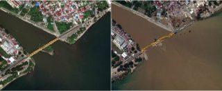 Terremoto in Indonesia, l'isola di Sulawesi prima e dopo lo tsunami vista dal satellite