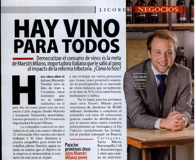 """Riccardo sulla rivista colombiana """"Dinero"""""""