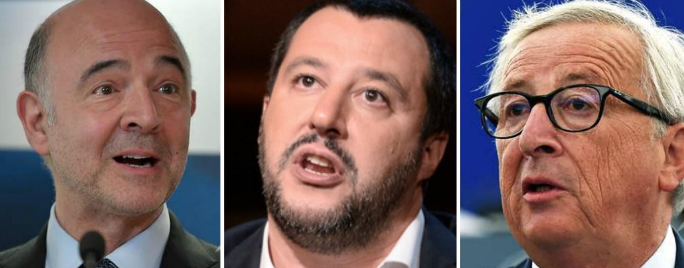 """Salvini: """"Juncker e Moscovici hanno rovinato l'Europa e l'Italia. Ue ha detto sì a manovre che ci hanno precarizzato"""""""