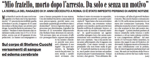 Stefano Cucchi, nove anni fa la denuncia della famiglia. La prima pagina ...
