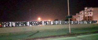 """Caso Cucchi, striscione contro Tedesco nella sua città: """"Per te nessuna pietà, sei la nostra vergogna"""""""