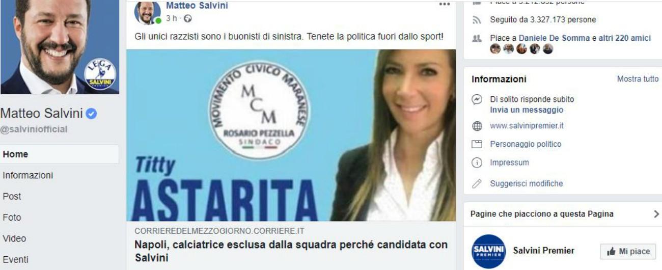 AfroNapoli, calciatrice si candida con Salvini: messa fuori rosa. Il presidente: 'Serve un segnale forte contro il razzismo'