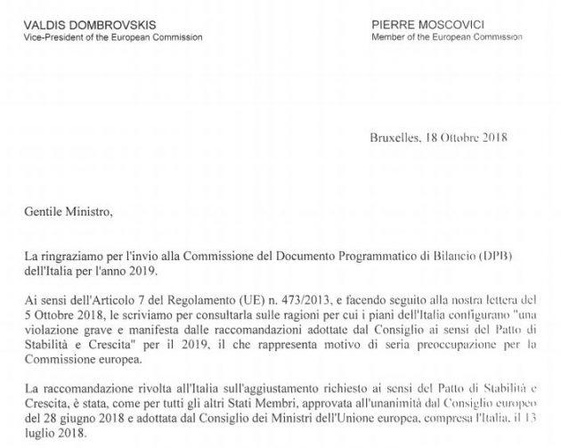 """Manovra, lettera Ue a Tria: """"Deviazione senza precedenti nella storia del patto. Inosservanza particolarmente ..."""