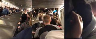"""Roma, nuovo video del cedimento delle scale mobili. I tifosi russi: """"Non stavamo saltando"""""""