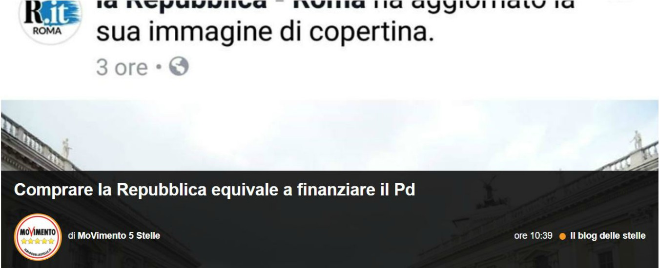 """Roma, Repubblica sceglie immagine del sit-in contro Raggi per Facebook. M5s: """"Comprarla equivale a finanziare il Pd"""""""
