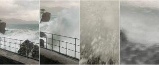 Maltempo Liguria, il bus viaggia verso Portofino a picco sul mare in burrasca. Lo scenario è apocalittico