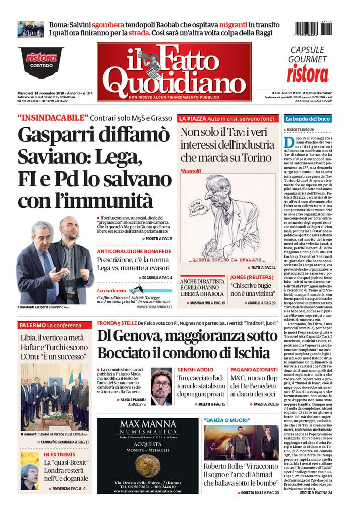 Gasparri Diffamò Saviano Lega Fi E Pd Lo Salvano Con Limmunità