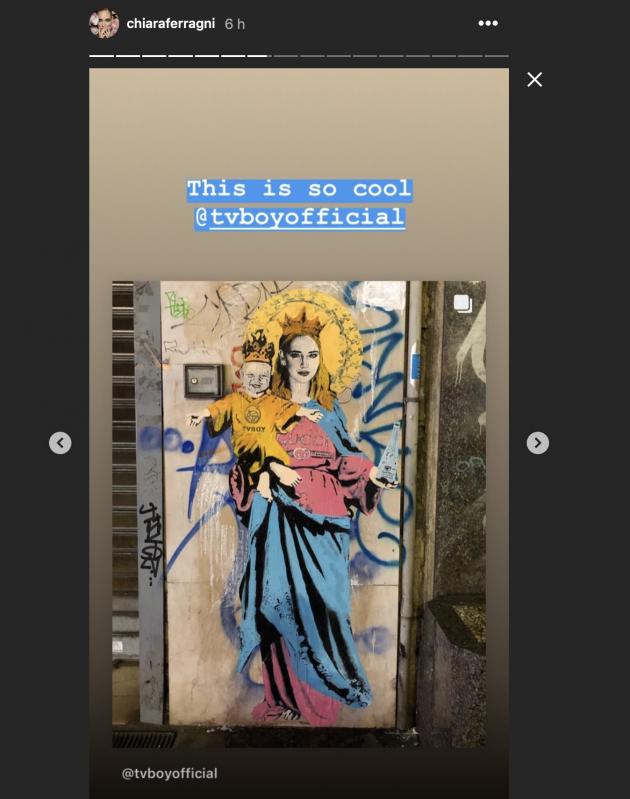 Murales di Chiara Ferragni con Leone (e una bottiglia d'acqu