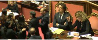 Scontro Lezzi-Ronzulli in Aula, poi la senatrice di FI cerca di raggiungere i banchi del governo: bloccata dai commessi