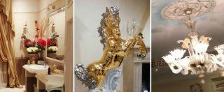 Casamonica, lusso sfrenato nelle ville abusive: statue dorate di cavalli, bagni in marmo e soffitti affrescati – FOTOGALLERY