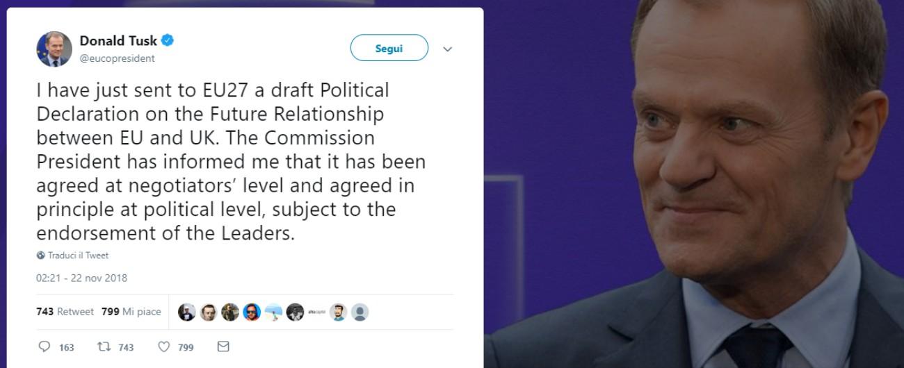 Brexit, raggiunta l'intesa sul documento sui futuri rapporti tra Regno Unito e Ue Ma la Spagna punta i piedi su Gibilterra