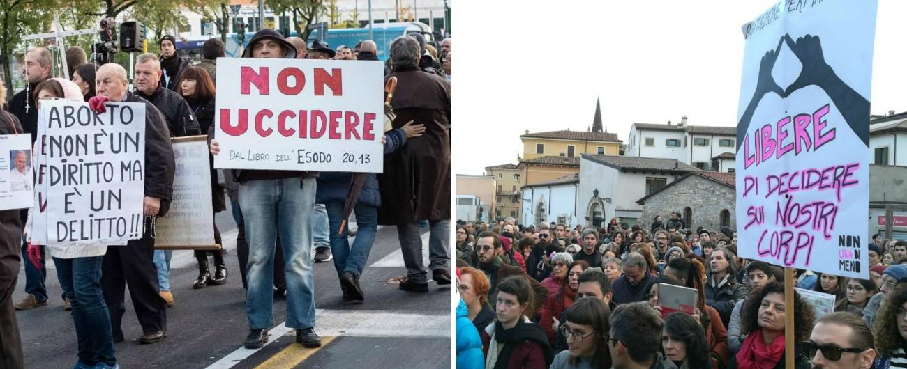 """Verona, gli antiabortisti sono 120. Fiore: """"Qui vogliamo una Vandea"""". In 500 per il flash-mob di """"Non una di meno"""""""