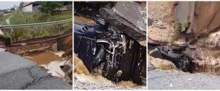 Maltempo, si apre voragine sulla via Pontina al Circeo: si cerca un automobilista disperso
