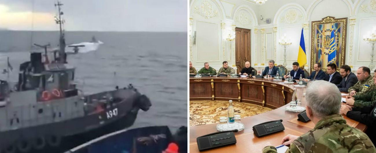 Russia-Ucraina, scontro in mare tra navi: sale tensione. Il Parlamento voterà se introdurre legge marziale. Proteste a Kiev