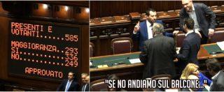 """Dl Sicurezza, passa la fiducia. E Salvini fa le prove di esultanza: """"Sobrietà ragazzi… o saliamo sul balcone?"""""""