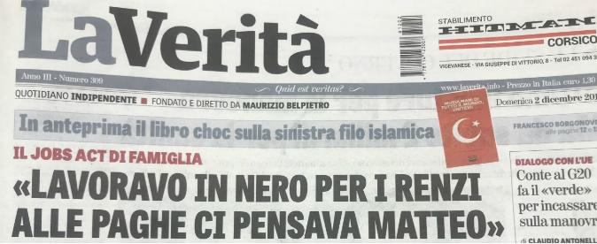"""La Verità: """"I Renzi pagavano in nero gli strilloni"""". M5s: """"Vergogna, chieda scusa a Di Maio"""". Tiziano: """"Diffamato, querelo"""""""