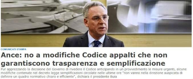 """Appalti, governo vuol sottrarre alle gare i lavori fino a 2,5 milioni di euro. Ance: """"90% dei bandi sarà senza concorrenza"""""""