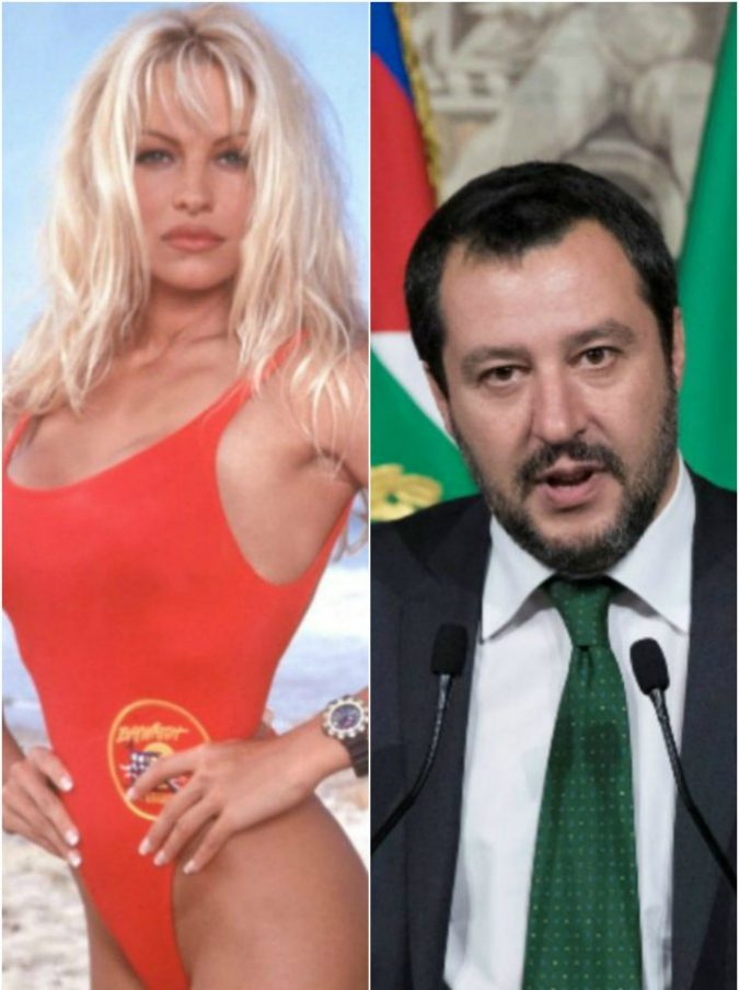 """Pamela Anderson contro Salvini: """"Non è lui la soluzione alla crisi europea. Preoccupata per ritorno fascismo in Italia"""". Lui: """"Lei sabato non ci sarà"""""""