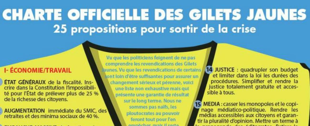 """Francia, il programma anticrisi dei gilet gialli: """"Frexit"""", aumento dei salari, stop a privatizzazioni e annullamento debito"""
