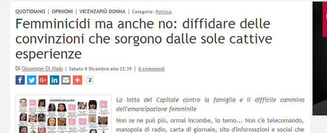 Femminicidio, ho letto l'articolo di Vicenza Più ed è stato come tornare indietro di duecento anni