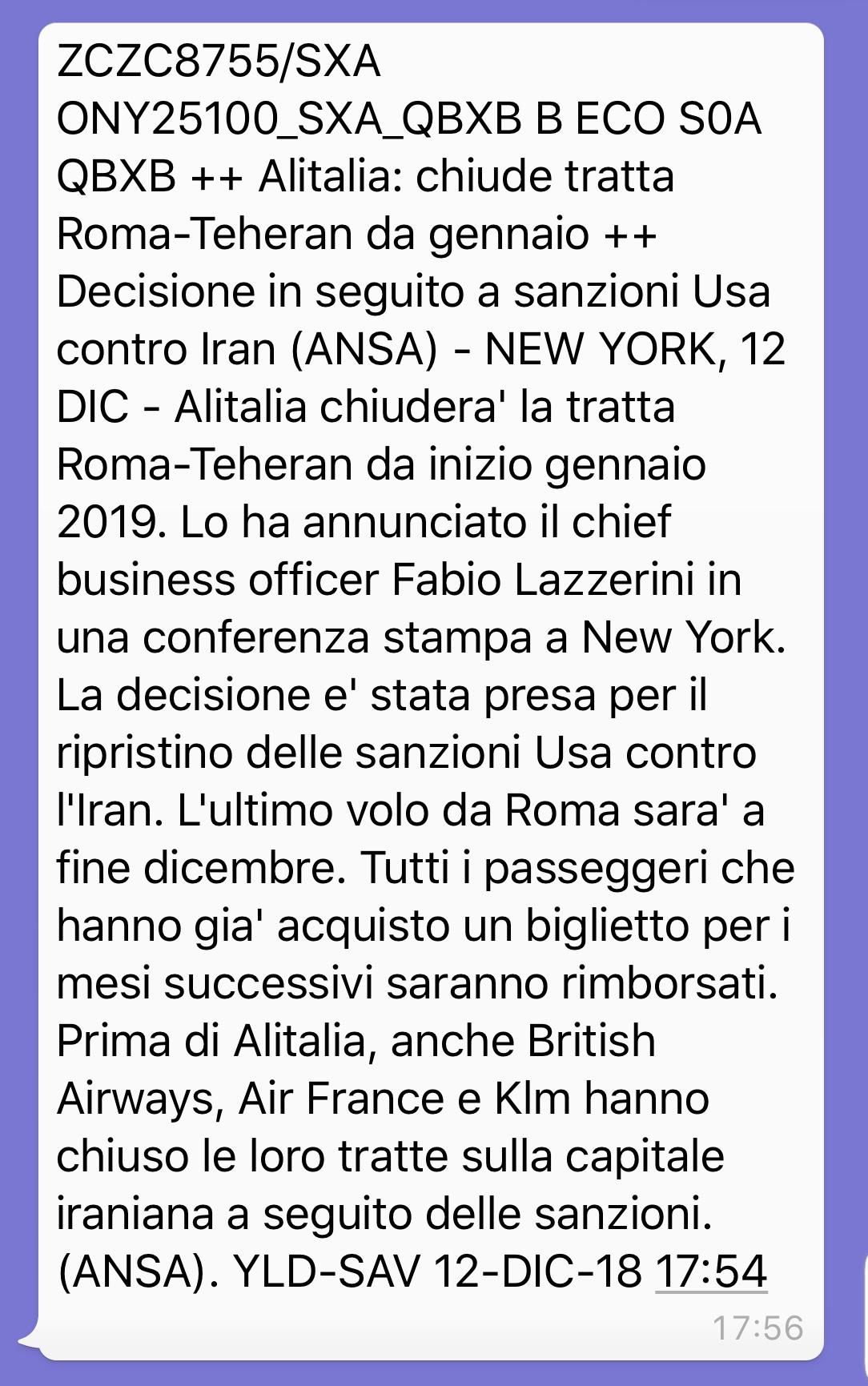 Alitalia, chiusa tratta Roma Tehran per embargo Usa. Un'offe