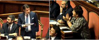"""Manovra, Conte interrotto più volte dalle proteste del Pd. E Casellati riprende Bellanova: """"Stia zitta"""""""