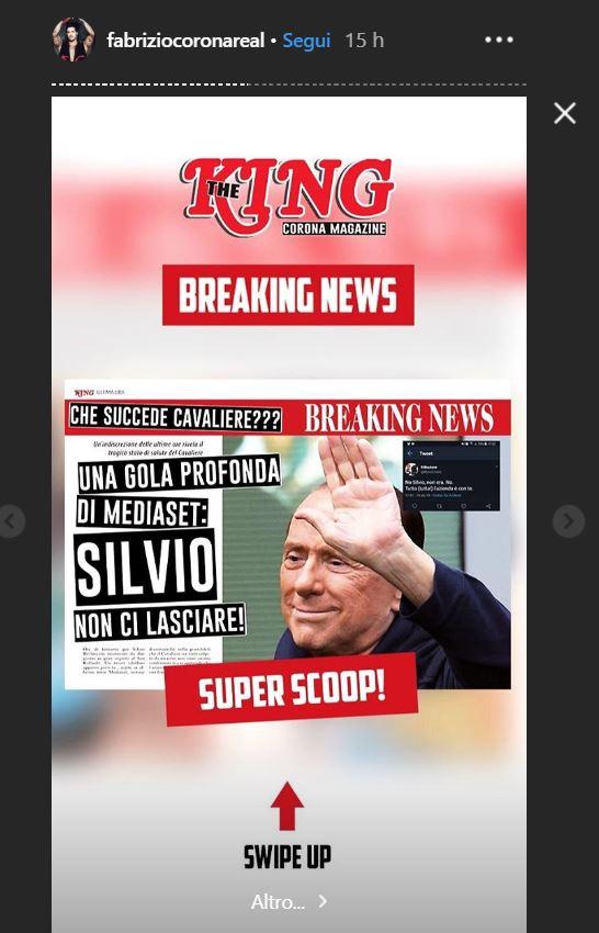 """Fabrizio Corona annuncia: """"Berlusconi è in condizioni critic"""