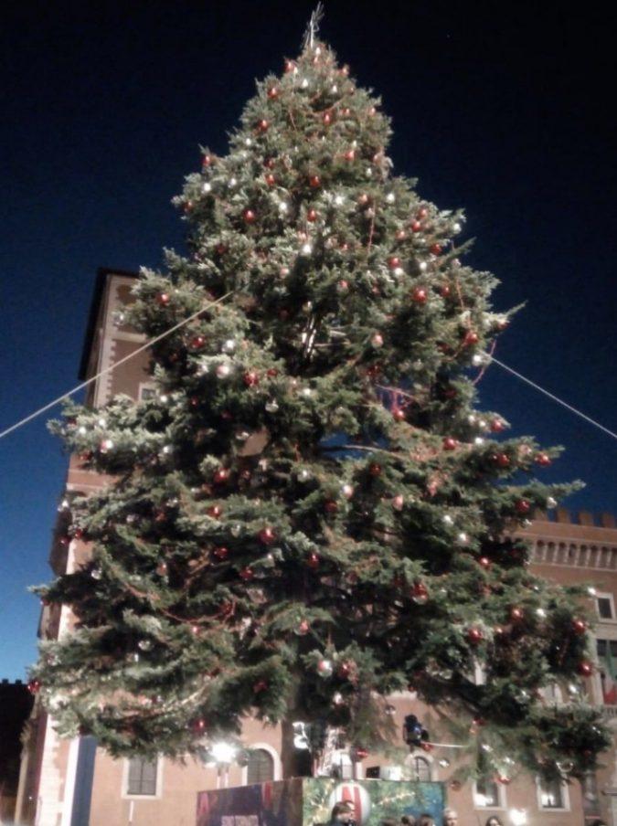 """Spezzacchio, l'albero di Natale romano imbragato per via del forte vento: """"Gli cadono le palle, come dargli torto?"""""""