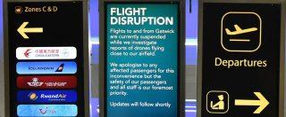 Droni a Gatwick, nuovo avvistamento: voli di nuovo sospesi e poi riavviati. Ipotesi protesta ambientalista