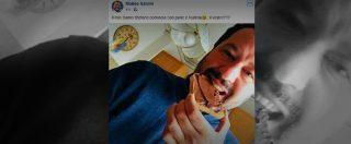 Salvini augura buon Santo Stefano in un selfie con pane e nutella. Ignorando l'allarme terremoto e l'omicidio di Pesaro