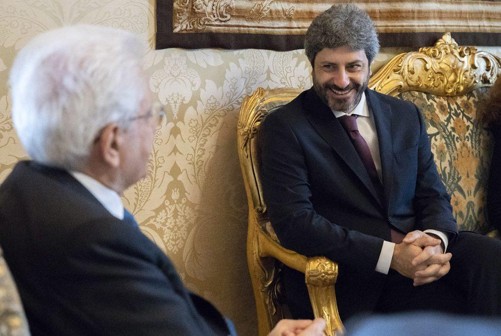 Foto Ufficio Stampa Quirinale, 22 maggio. Mattarella con il presidente della Camera dei Deputati Roberto Fico