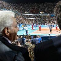 Ufficio Stampa Quirinale, 9 settembre.  Mattarella al Foro Italico in occasione della partita inaugurale del mondiale di pallavolo maschile Italia-Giappone
