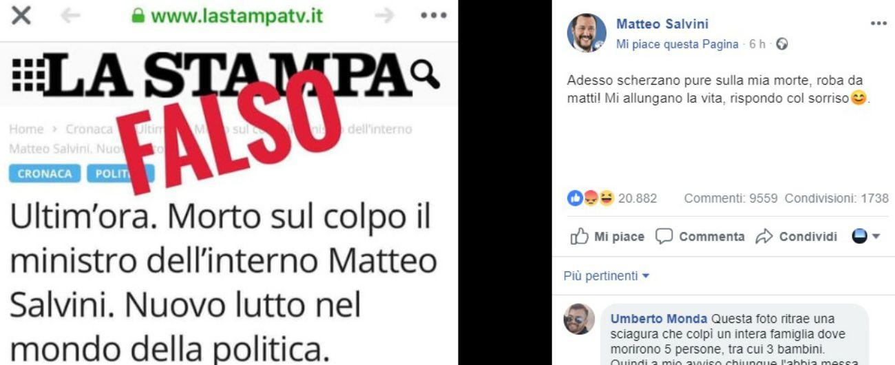 """Fake news sulla morte di Salvini, lui: """"Mi allungano la vita"""". La Stampa: """"Chiesta chiusura del sito che usa nostro logo"""""""