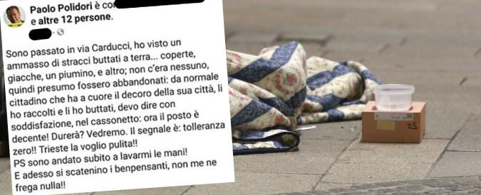 "Trieste, vicesindaco leghista getta coperte di un clochard e se ne vanta su Facebook. Pd: ""Si dimetta"", Fedriga (Lega): ""Falsità"""