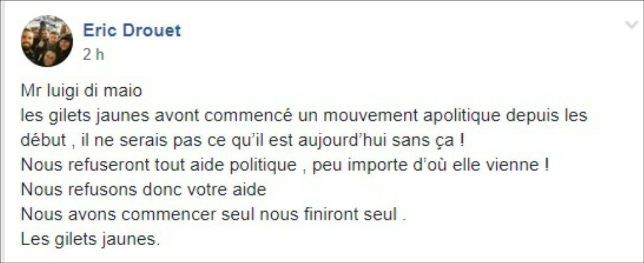 """Gilet gialli, il portavoce Drouet non vedrà Di Maio: """"Nostro movimento è apolitico, rifiutiamo gli aiuti di tutti i politici"""""""